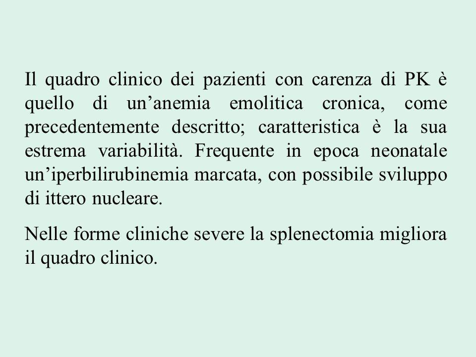 Il quadro clinico dei pazienti con carenza di PK è quello di un'anemia emolitica cronica, come precedentemente descritto; caratteristica è la sua estrema variabilità. Frequente in epoca neonatale un'iperbilirubinemia marcata, con possibile sviluppo di ittero nucleare.