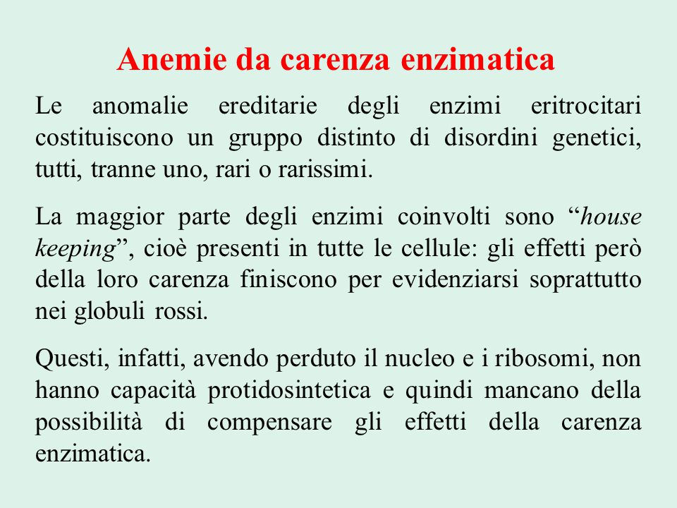 Anemie da carenza enzimatica