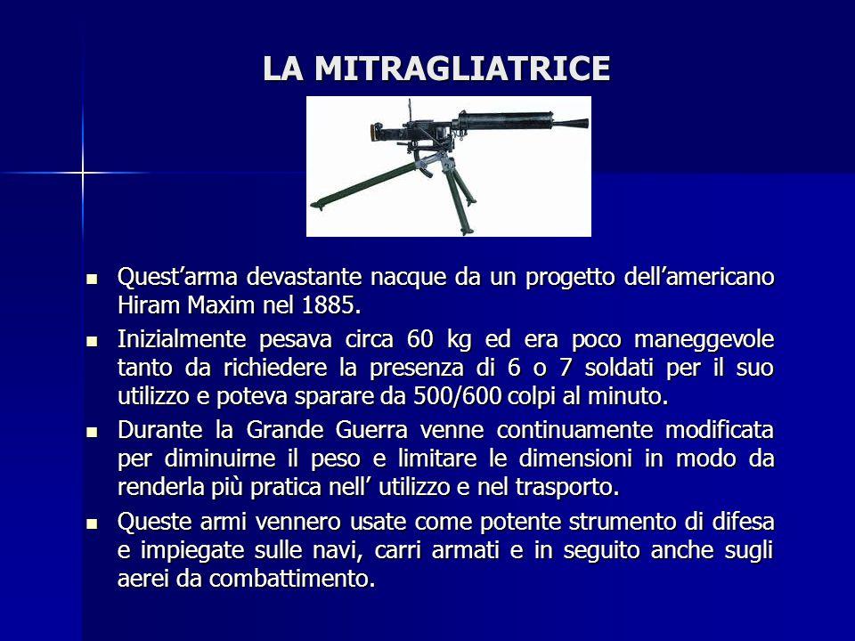LA MITRAGLIATRICE Quest'arma devastante nacque da un progetto dell'americano Hiram Maxim nel 1885.
