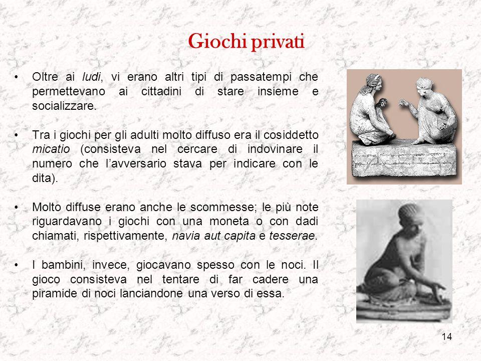 Giochi privati Oltre ai ludi, vi erano altri tipi di passatempi che permettevano ai cittadini di stare insieme e socializzare.