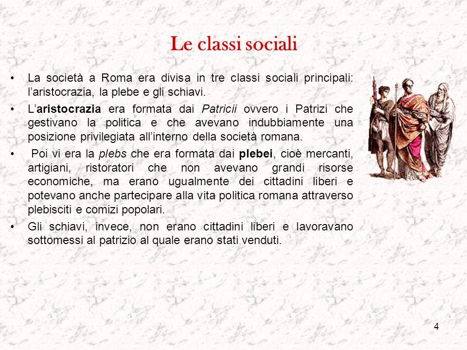 Le classi sociali La società a Roma era divisa in tre classi sociali principali: l'aristocrazia, la plebe e gli schiavi.