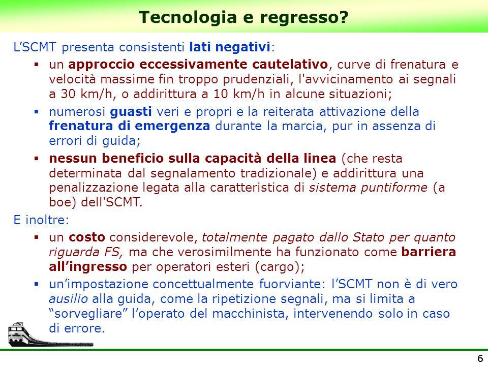 Tecnologia e regresso L'SCMT presenta consistenti lati negativi: