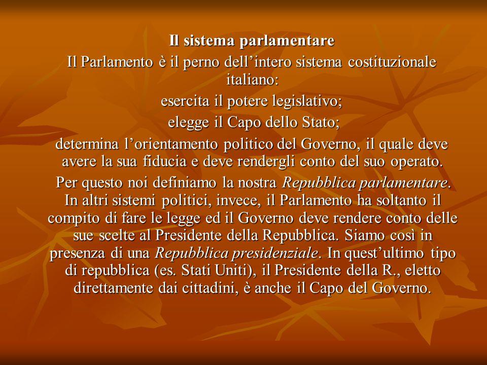 Il sistema parlamentare