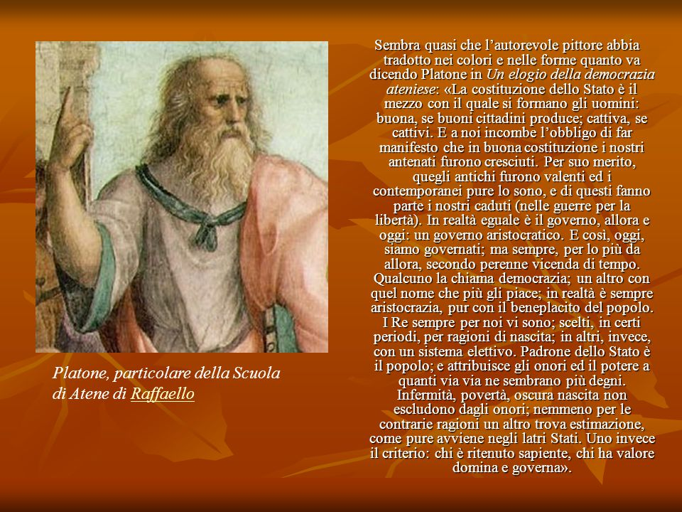 Platone, particolare della Scuola di Atene di Raffaello