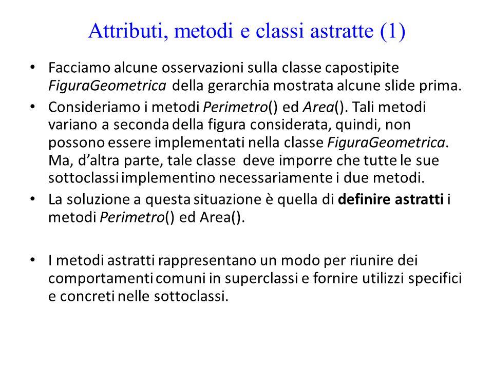Attributi, metodi e classi astratte (1)