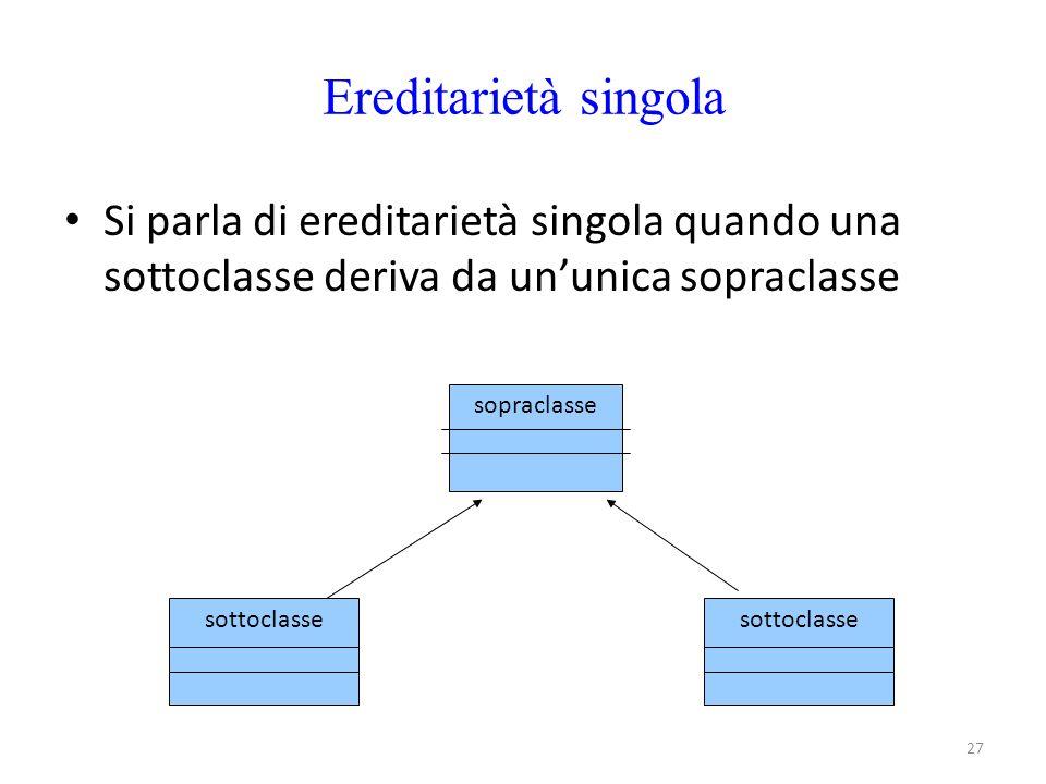 Ereditarietà singola Si parla di ereditarietà singola quando una sottoclasse deriva da un'unica sopraclasse.