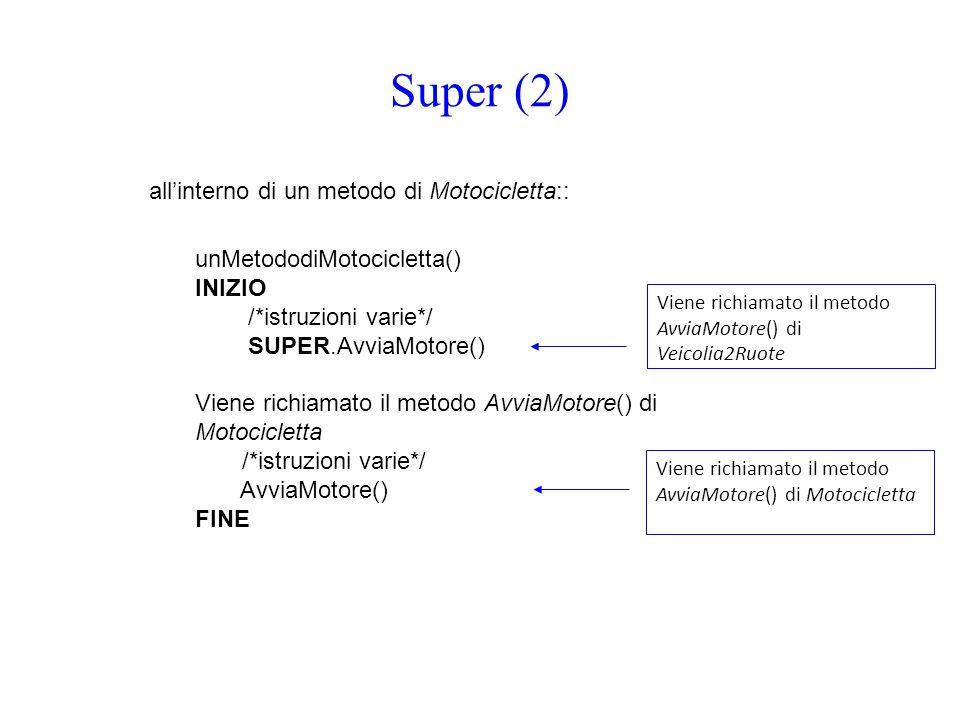 Super (2) all'interno di un metodo di Motocicletta::