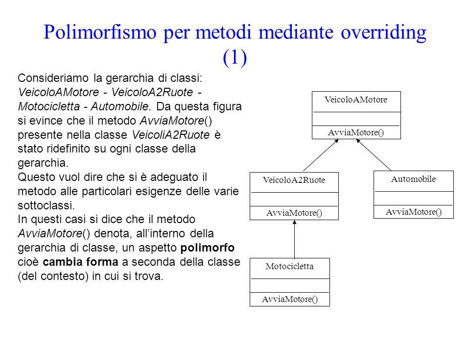 Polimorfismo per metodi mediante overriding (1)