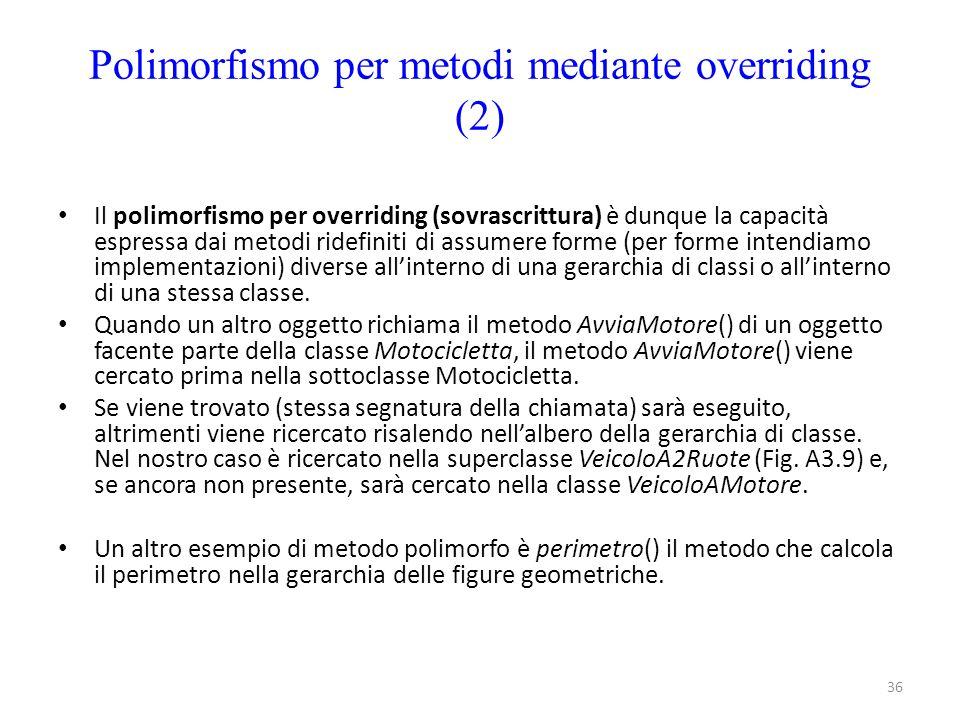 Polimorfismo per metodi mediante overriding (2)