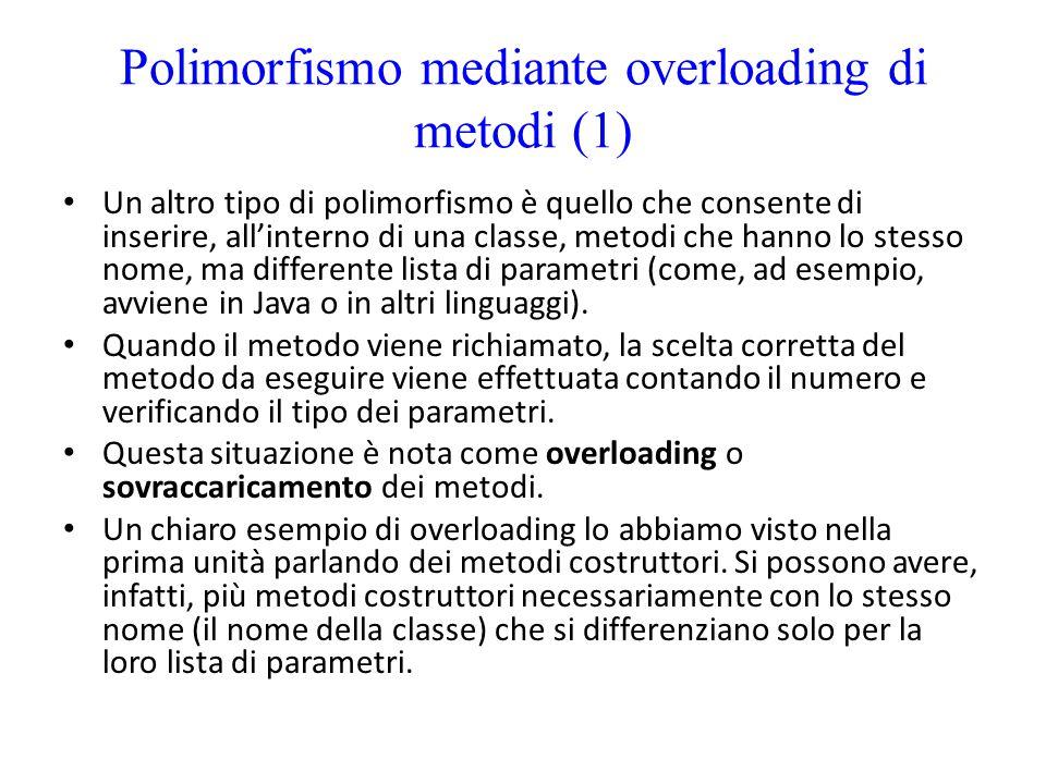 Polimorfismo mediante overloading di metodi (1)