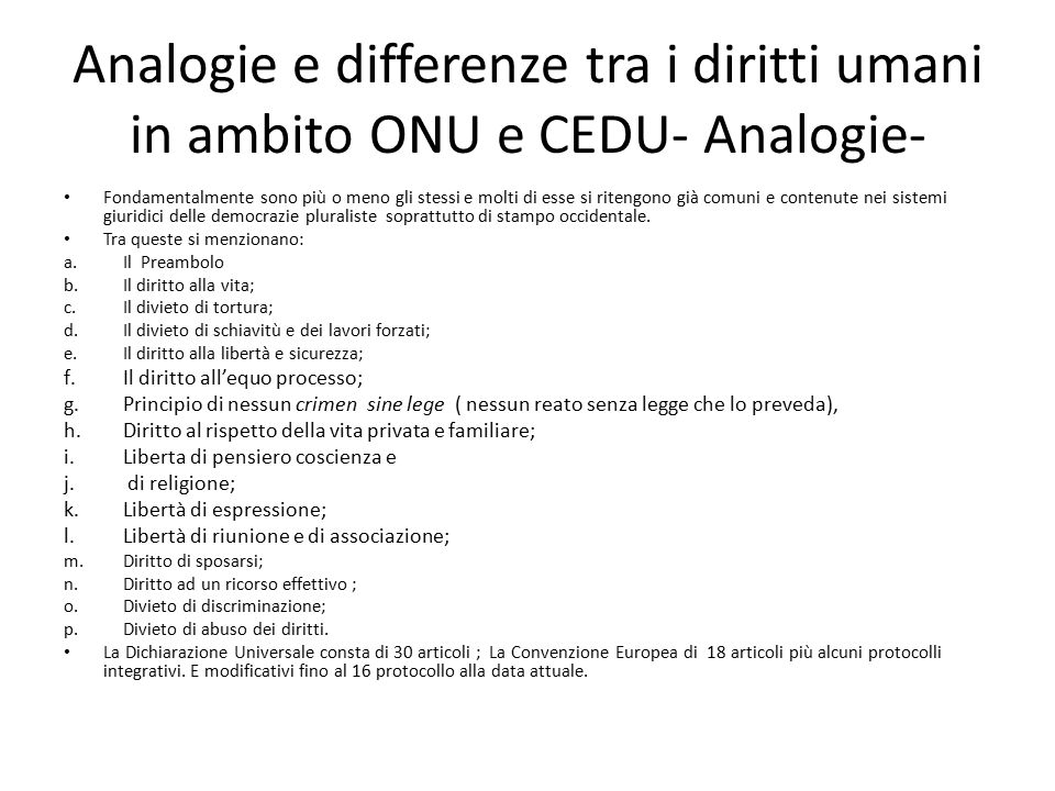 Analogie e differenze tra i diritti umani in ambito ONU e CEDU- Analogie-