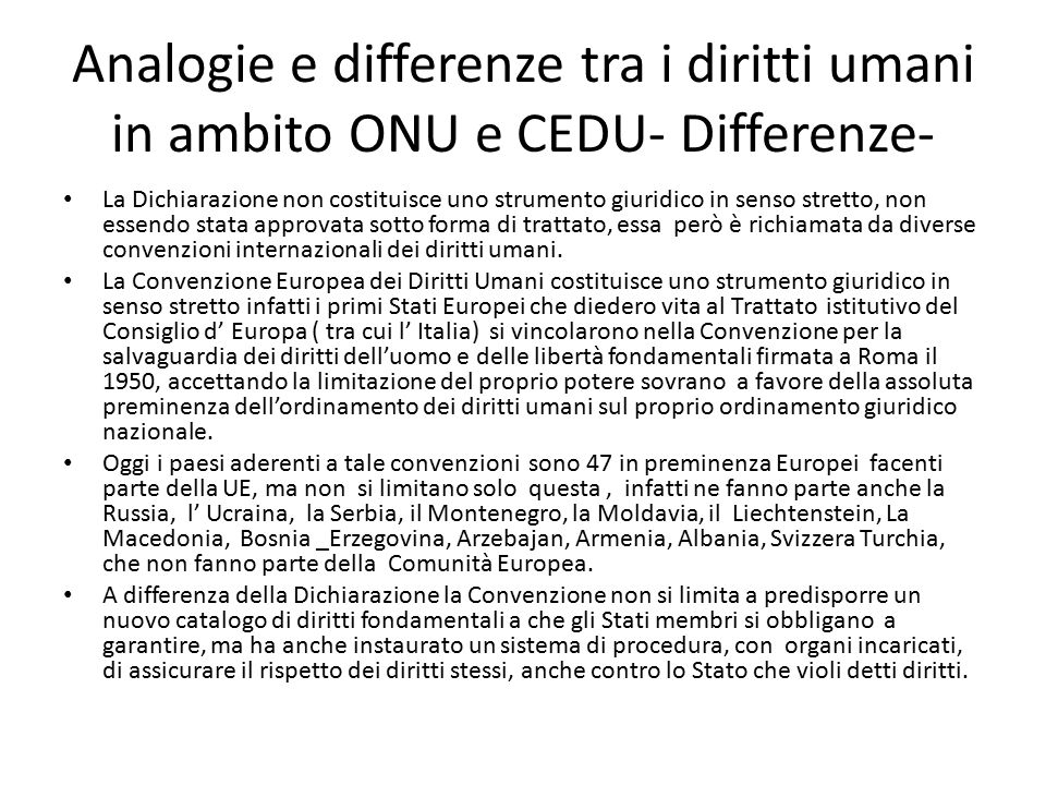 Analogie e differenze tra i diritti umani in ambito ONU e CEDU- Differenze-