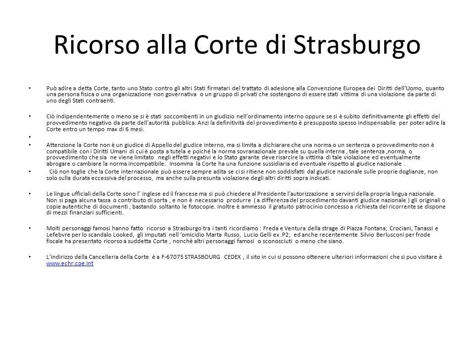 Ricorso alla Corte di Strasburgo