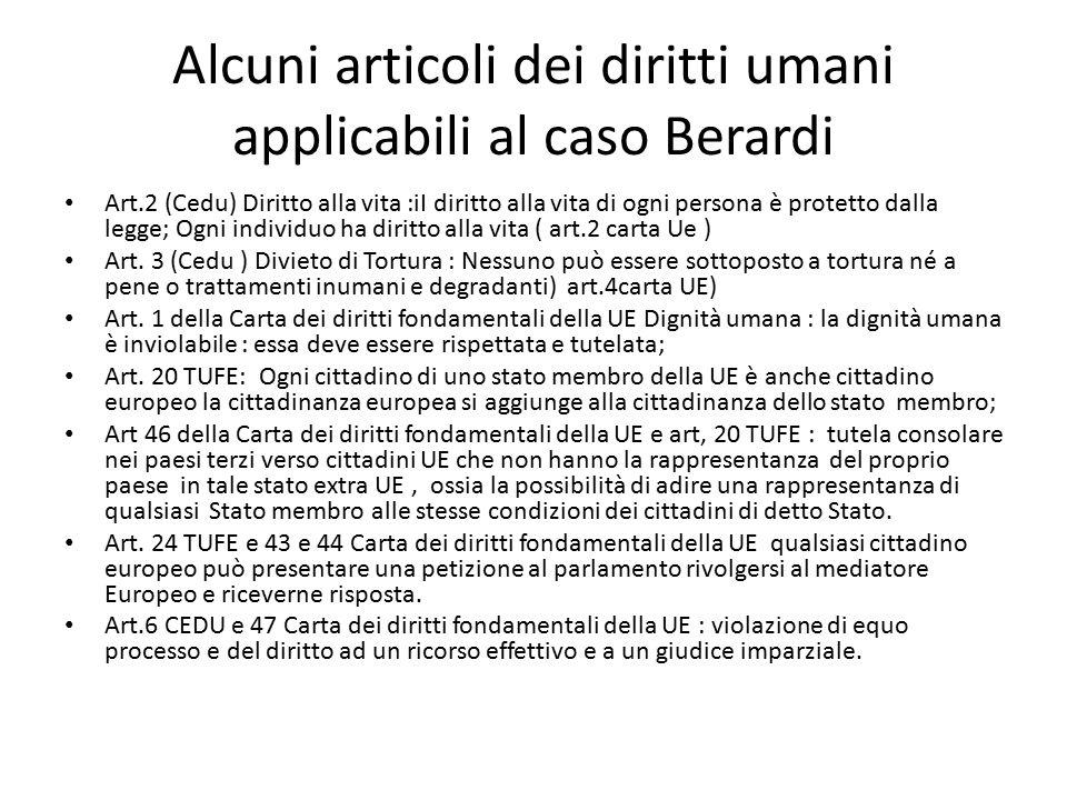 Alcuni articoli dei diritti umani applicabili al caso Berardi
