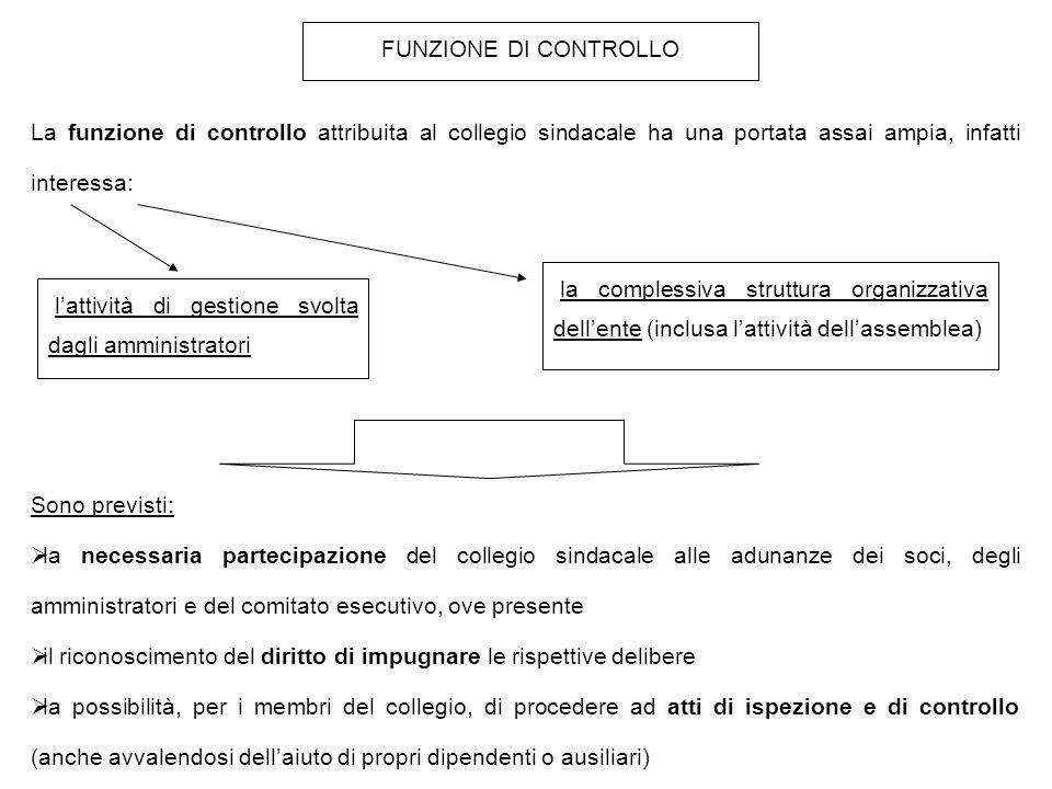 FUNZIONE DI CONTROLLO La funzione di controllo attribuita al collegio sindacale ha una portata assai ampia, infatti interessa:
