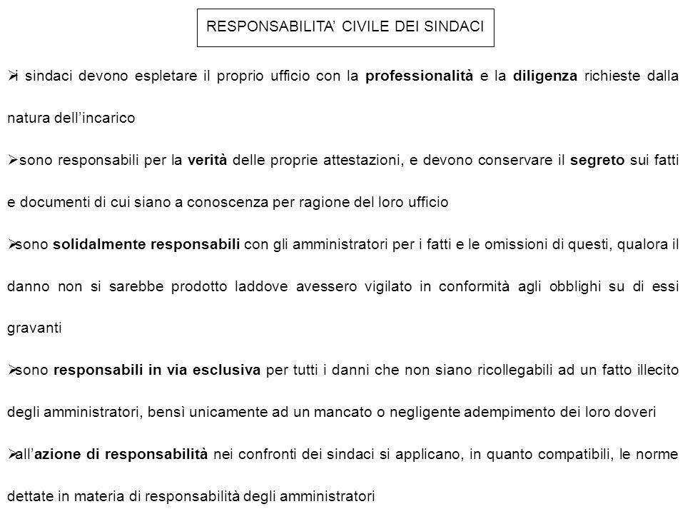 RESPONSABILITA' CIVILE DEI SINDACI