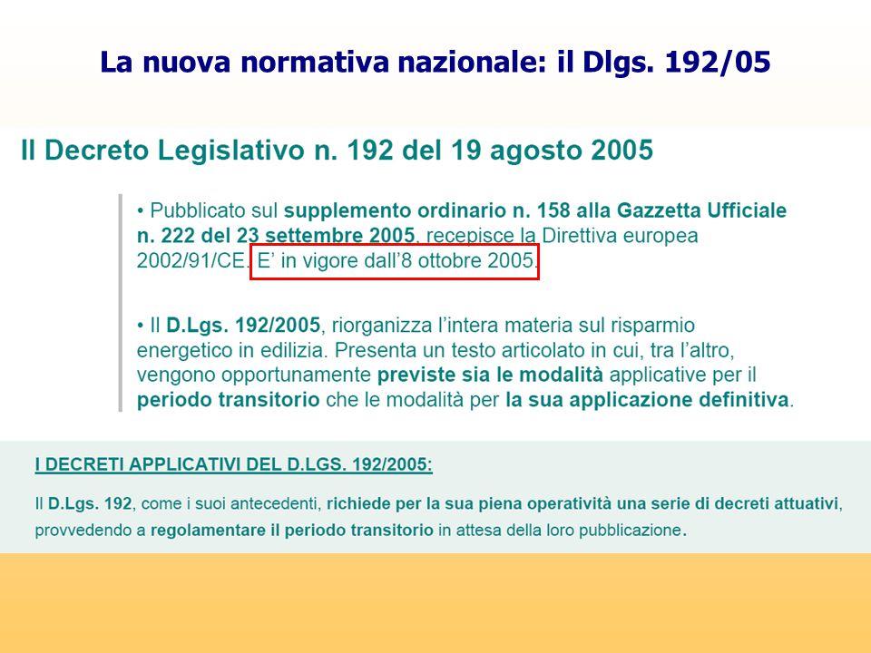 La nuova normativa nazionale: il Dlgs. 192/05