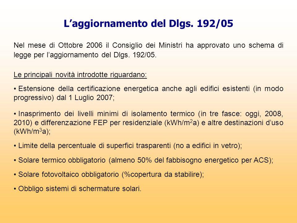 L'aggiornamento del Dlgs. 192/05