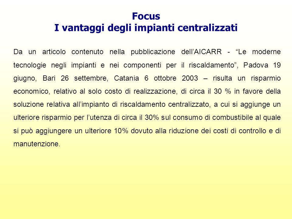I vantaggi degli impianti centralizzati