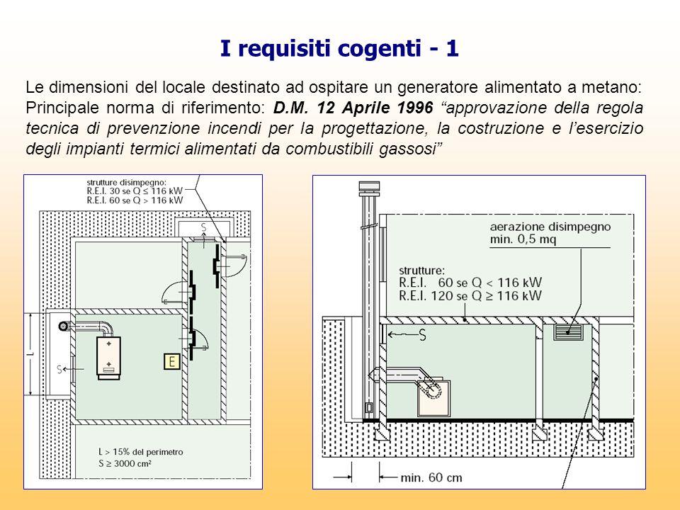 I requisiti cogenti - 1 Le dimensioni del locale destinato ad ospitare un generatore alimentato a metano: