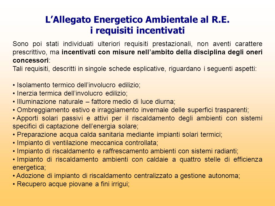 L'Allegato Energetico Ambientale al R.E. i requisiti incentivati
