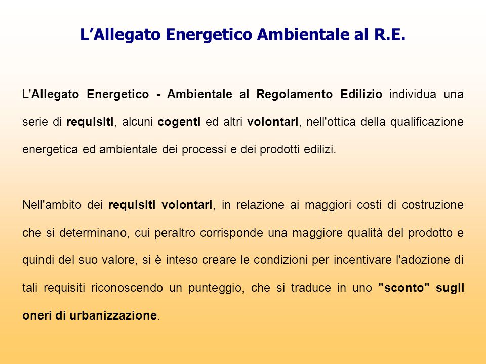 L'Allegato Energetico Ambientale al R.E.