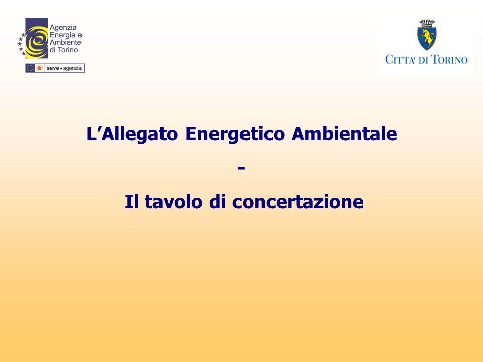 L'Allegato Energetico Ambientale Il tavolo di concertazione