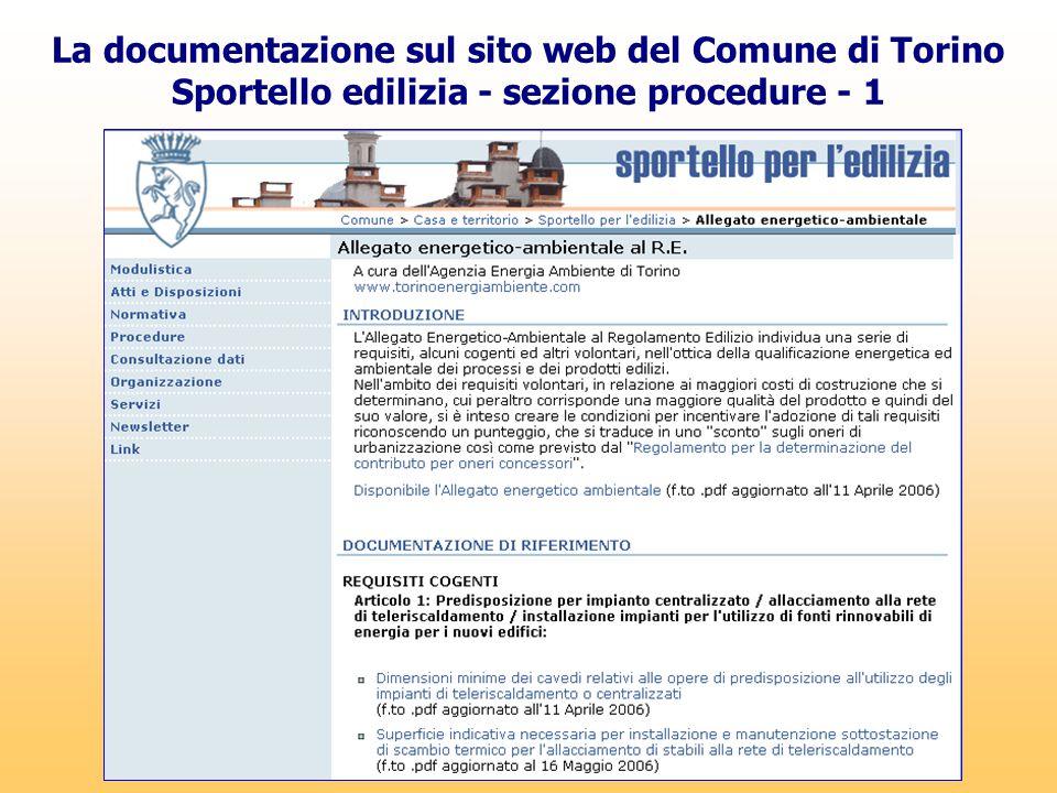 La documentazione sul sito web del Comune di Torino