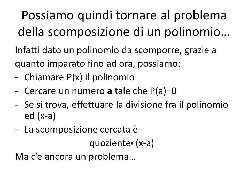 Possiamo quindi tornare al problema della scomposizione di un polinomio…