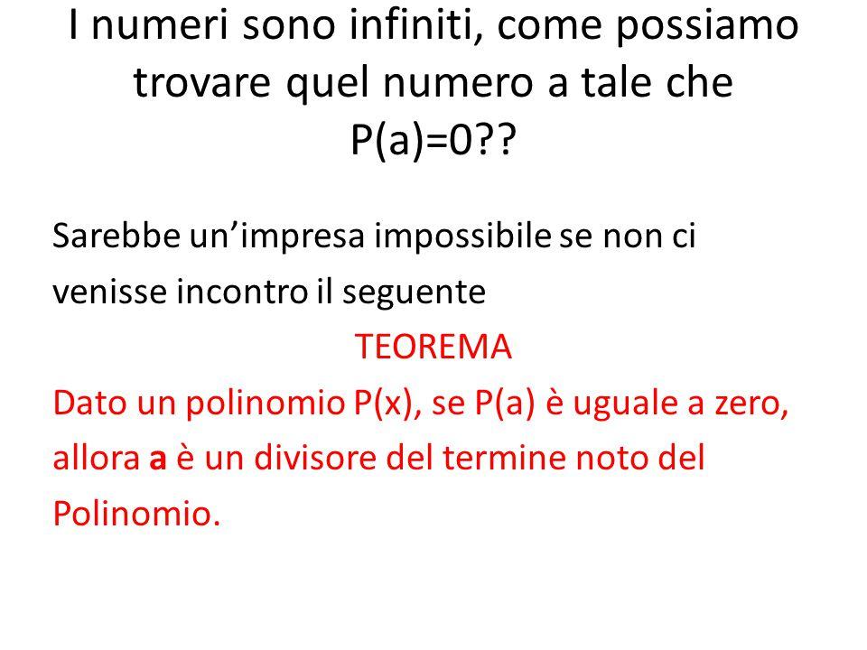 I numeri sono infiniti, come possiamo trovare quel numero a tale che P(a)=0
