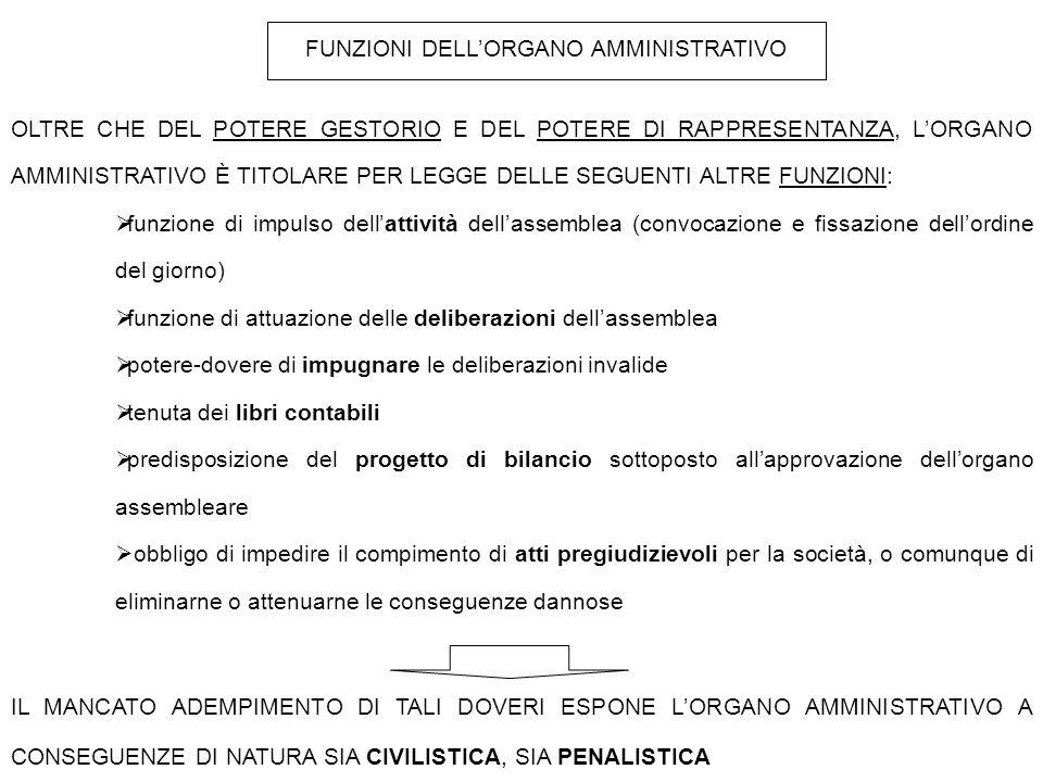 FUNZIONI DELL'ORGANO AMMINISTRATIVO
