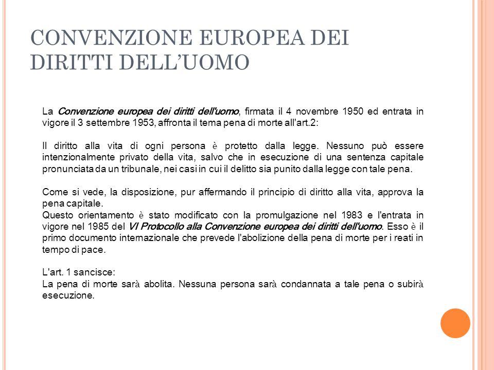 CONVENZIONE EUROPEA DEI DIRITTI DELL'UOMO