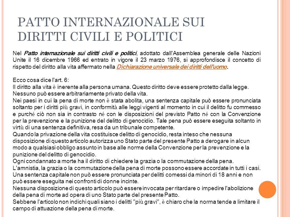 PATTO INTERNAZIONALE SUI DIRITTI CIVILI E POLITICI