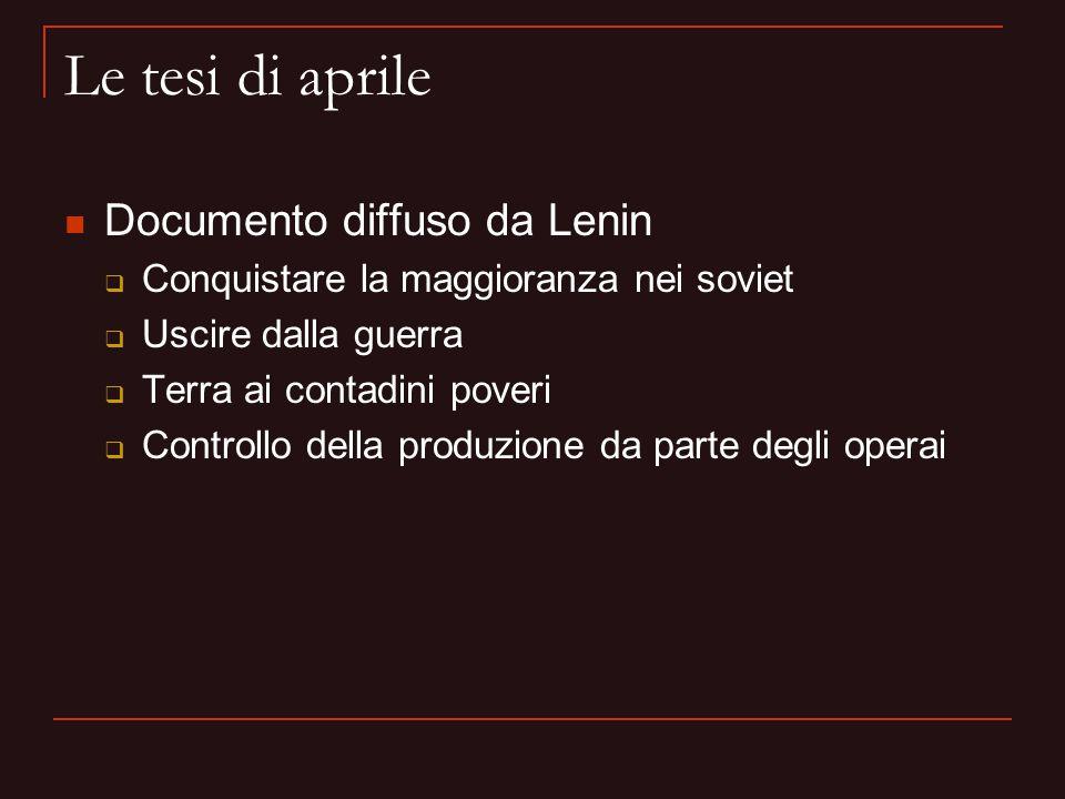 Le tesi di aprile Documento diffuso da Lenin