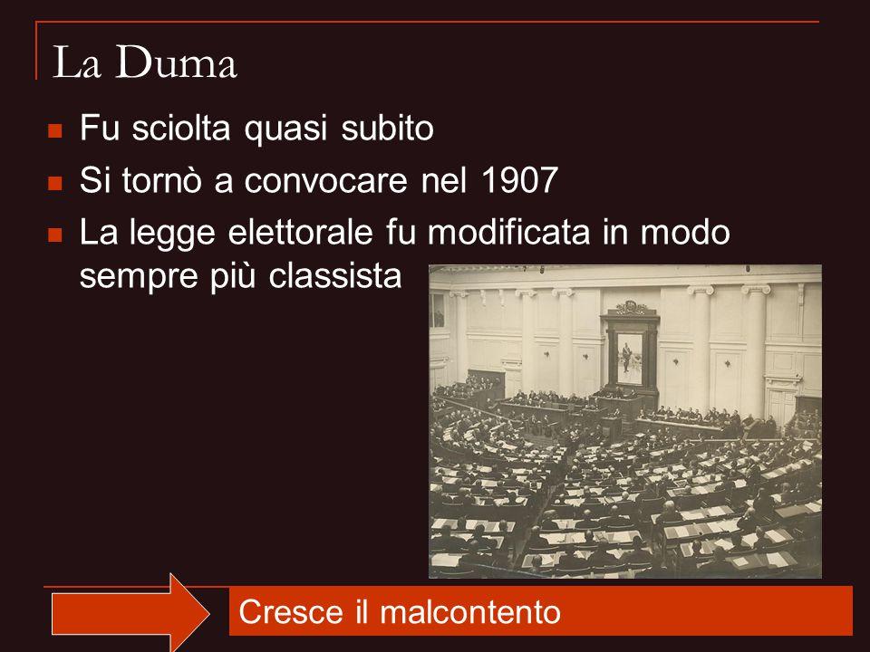 La Duma Fu sciolta quasi subito Si tornò a convocare nel 1907