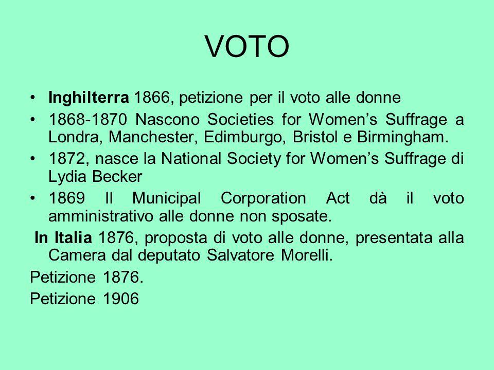VOTO Inghilterra 1866, petizione per il voto alle donne