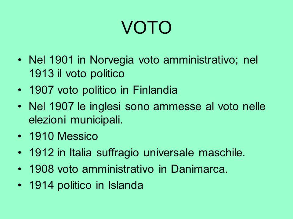 VOTO Nel 1901 in Norvegia voto amministrativo; nel 1913 il voto politico. 1907 voto politico in Finlandia.