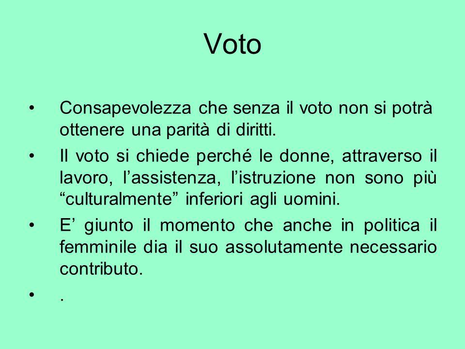 Voto Consapevolezza che senza il voto non si potrà ottenere una parità di diritti.