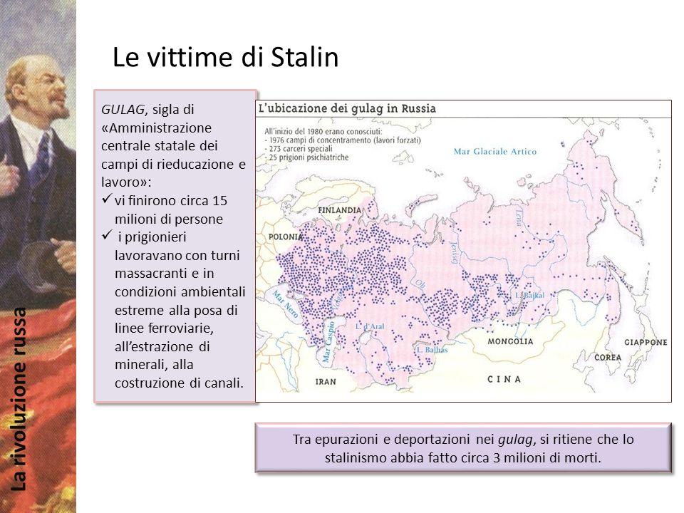 Le vittime di Stalin GULAG, sigla di «Amministrazione centrale statale dei campi di rieducazione e lavoro»: