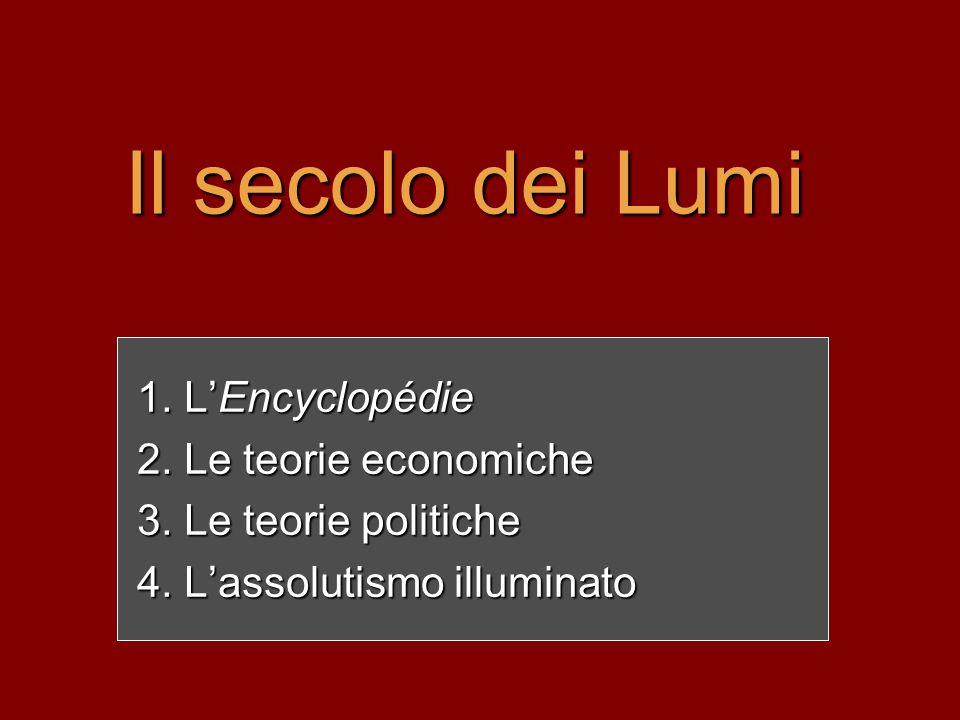 Il secolo dei Lumi L'Encyclopédie Le teorie economiche