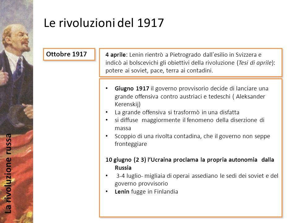 Le rivoluzioni del 1917 Ottobre 1917