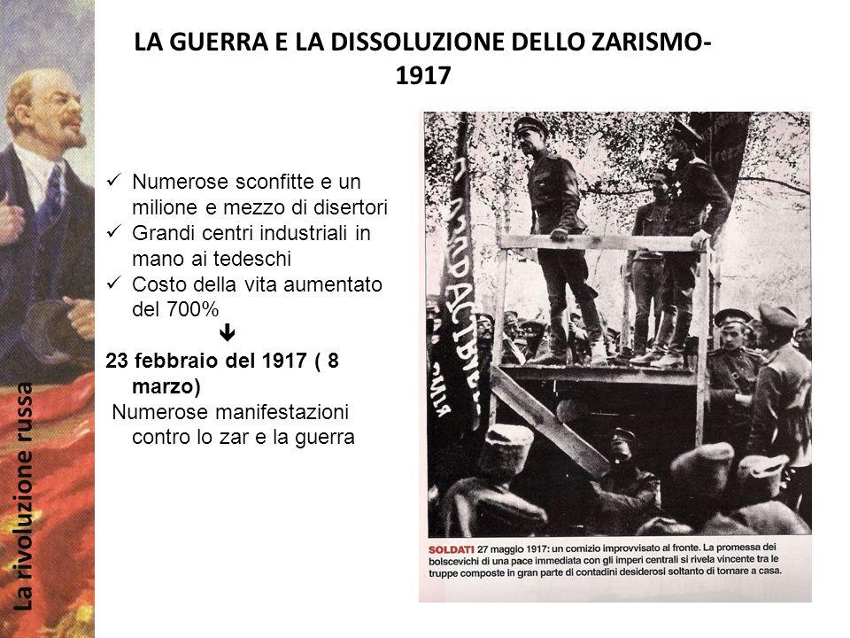 LA GUERRA E LA DISSOLUZIONE DELLO ZARISMO- 1917