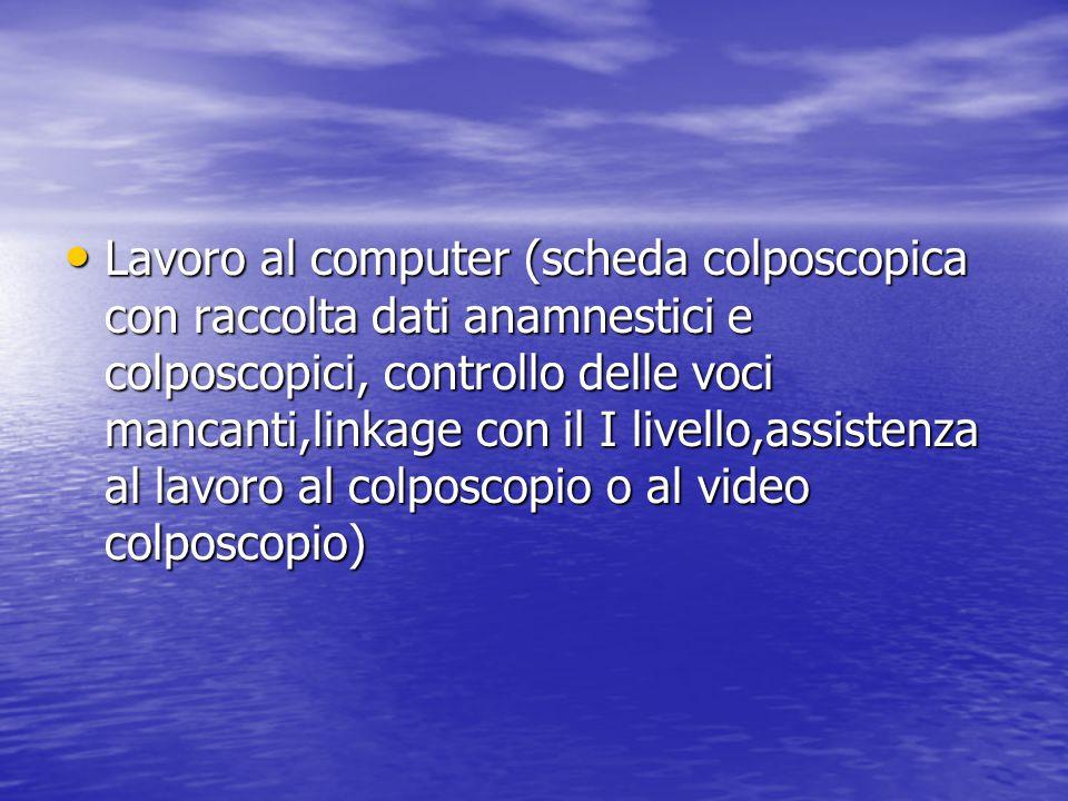 Lavoro al computer (scheda colposcopica con raccolta dati anamnestici e colposcopici, controllo delle voci mancanti,linkage con il I livello,assistenza al lavoro al colposcopio o al video colposcopio)