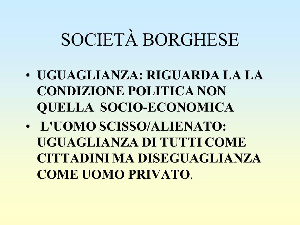 SOCIETÀ BORGHESE UGUAGLIANZA: RIGUARDA LA LA CONDIZIONE POLITICA NON QUELLA SOCIO-ECONOMICA.