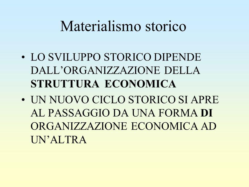 Materialismo storico LO SVILUPPO STORICO DIPENDE DALL'ORGANIZZAZIONE DELLA STRUTTURA ECONOMICA.