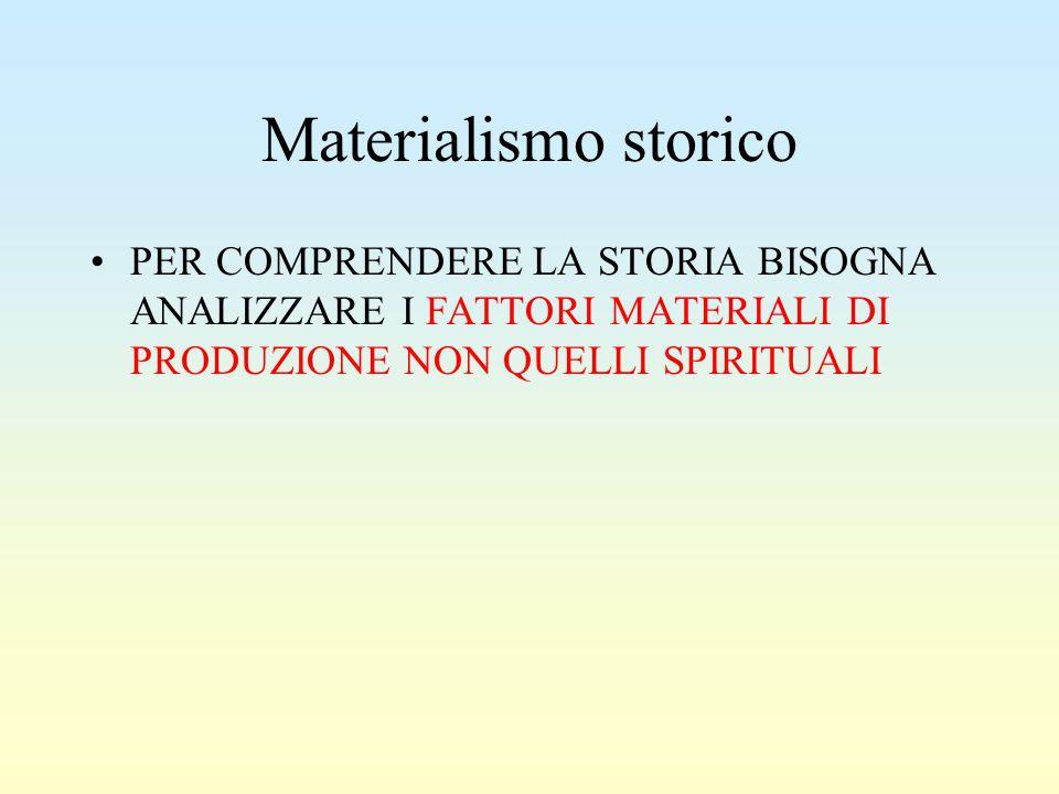 Materialismo storico PER COMPRENDERE LA STORIA BISOGNA ANALIZZARE I FATTORI MATERIALI DI PRODUZIONE NON QUELLI SPIRITUALI.