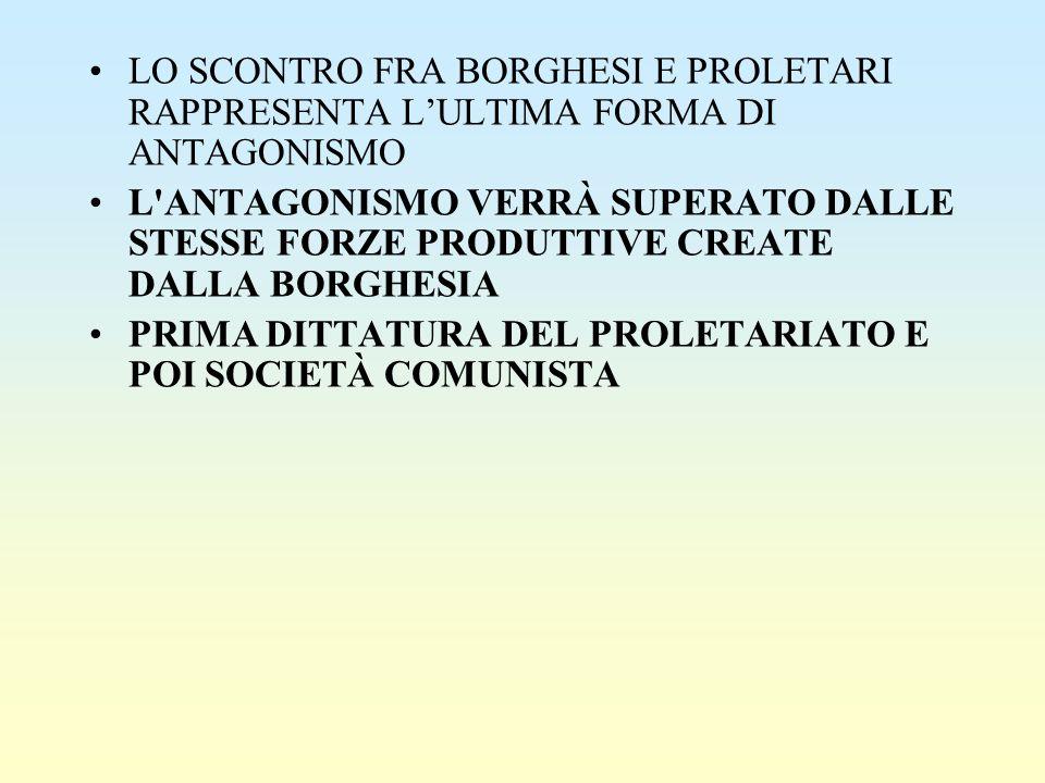 LO SCONTRO FRA BORGHESI E PROLETARI RAPPRESENTA L'ULTIMA FORMA DI ANTAGONISMO