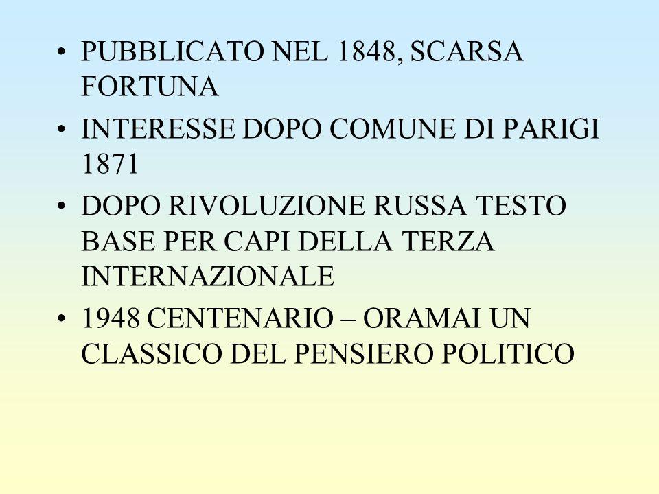 PUBBLICATO NEL 1848, SCARSA FORTUNA