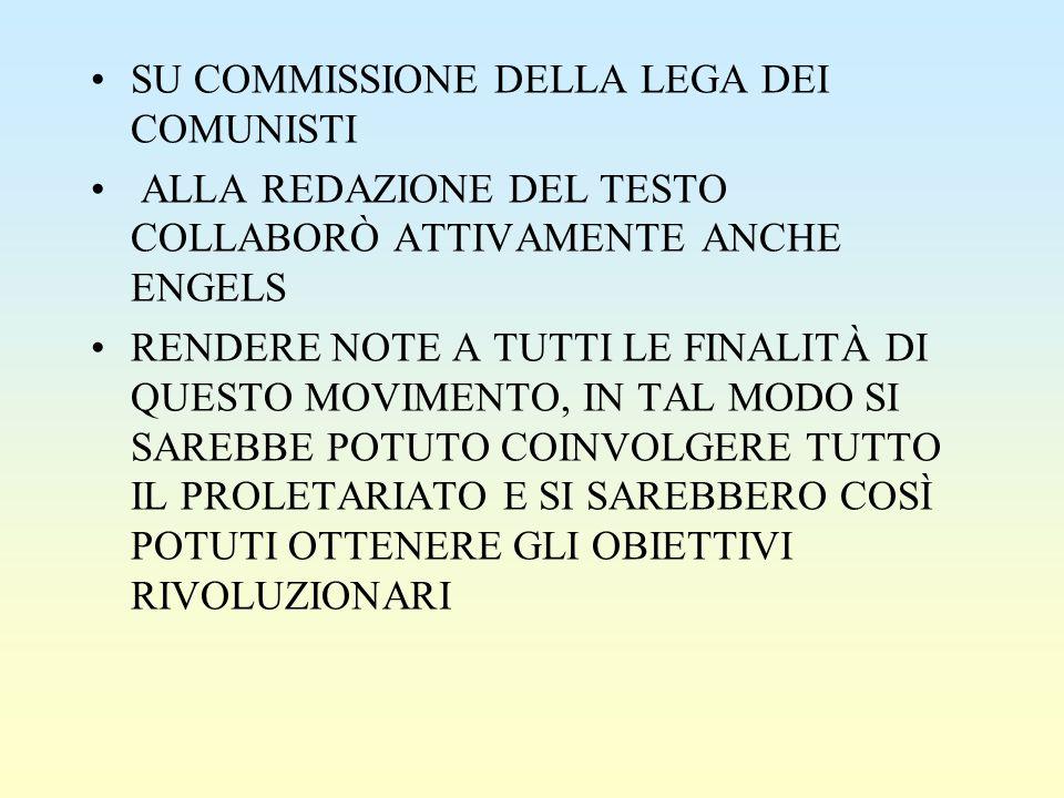 SU COMMISSIONE DELLA LEGA DEI COMUNISTI