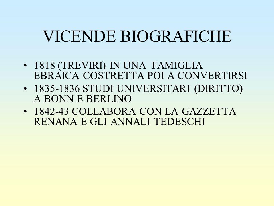 VICENDE BIOGRAFICHE 1818 (TREVIRI) IN UNA FAMIGLIA EBRAICA COSTRETTA POI A CONVERTIRSI. 1835-1836 STUDI UNIVERSITARI (DIRITTO) A BONN E BERLINO.